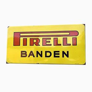 Großes niederländisches Vintage Pirelli Schild aus Emaille von Langcat