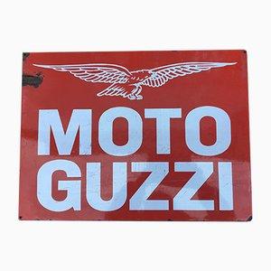 Cartel publicitario Moto Guzzi italiano vintage esmaltado, años 70