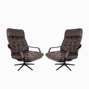 Sessel aus Holz & Leder, 1960er, 2er Set