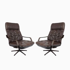 Wood & Leather Lounge Chairs, 1960s, Set of 2