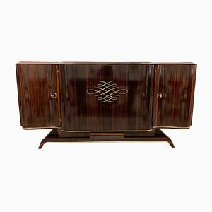 French Macassar & Brass Art Deco Sideboard from Gouffè, 1930s