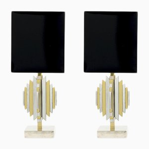 Brass & Chrome Sculptural Cactus Lamps, 1974, Set of 2