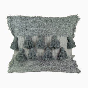Grey Tassel Furry Pillow by Nieta Atelier
