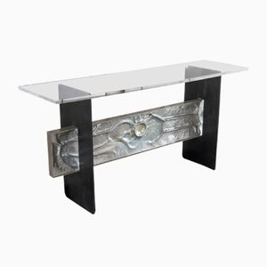 Italian Aluminum Frieze Console with Steel Structure & Plexiglass Top, 1960s