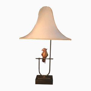 Lampada da tavolo con pappagallo rosa e foglia d'oro di Barovier & Toso, anni '60