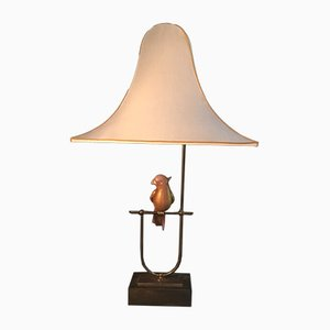 Lámpara de mesa dorada con loro rosa de Barovier & Toso, años 60