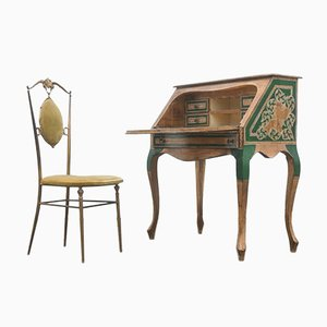 Italian Lacquered & Gilded Wood Writing Desk & Chair, 1950s