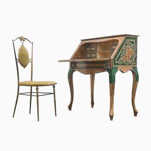 Italienischer Schreibtisch & Stuhl aus lackiertem & vergoldetem Holz, 1950er