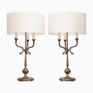 Lámparas de mesa en forma de candelabro con delfines de latón, años 40. Juego de 2