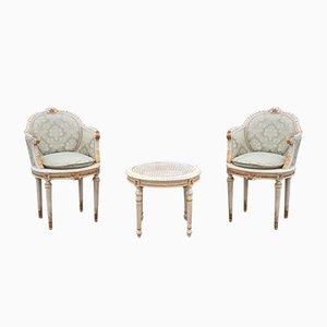 Italienischer Beistelltisch & 2 Bergères Stühle, 1960er