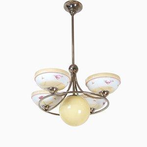Lámpara de araña Art Déco de metal cromado, años 20