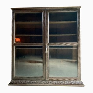 Vintage Carved Oak Bookcase