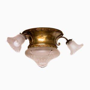 Jugendstil Deckenlampe aus Glas & Messing, 1930er