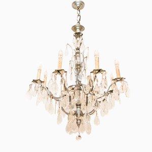 Lámpara de araña francesa vintage de cristal y bronce niquelado