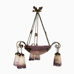 Art Nouveau French Purple Glass Chandelier from Muller Frères