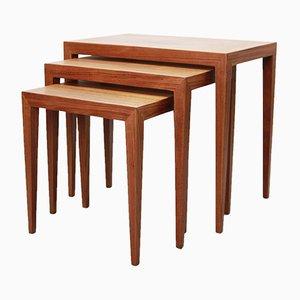 Tavolini ad incastro in teak di Severin Hansen per Haslev Møbelfabrik Denmark, anni '50