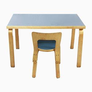 Tavolo e sedia da bambino vintage di Alvar Aalto per Artek, Finlandia, anni '60