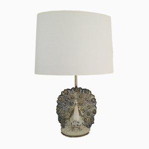 Lámpara en forma de pavo real de cerámica, años 70