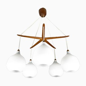 Swedish Oak & Glass Chandelier by Uno & Östen Kristiansson for Luxus, 1950s
