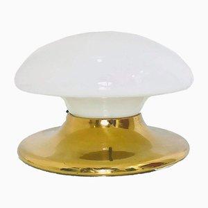 Lampada da soffitto in ottone e vetro lattimo, anni '70