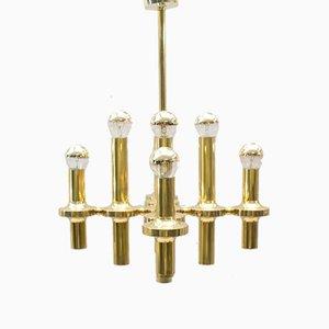 Lámpara de araña de latón de Sciolari, años 70