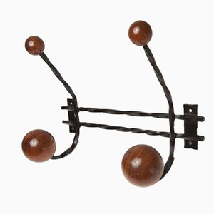 Vintage Wood & Steel Coat Rack
