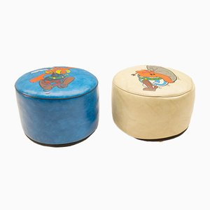 Vintage Asterix & Obelix Poufs, 1960s, Set of 2