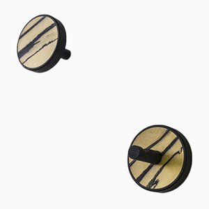 Inverso Élite Ebano Black Stained Solid Wood with White Ebony Inlay Wall Hangers from Lignis, Set of 2