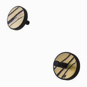 Inverso Élite Ebano Wandhaken aus schwarzgefärbtem soliden Holz mit Einlage aus weißem Ebenholz von Lignis, 2er Set
