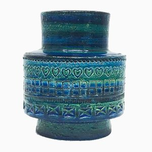 Rimini Blue Series Ceramic Vase by Aldo Londi for Bitossi, 1960s