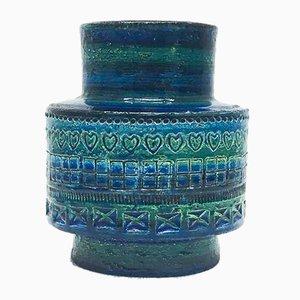 Vase Série Rimini Blue en Céramique par Aldo Londi pour Bitossi, 1960s