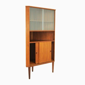 Vintage Corner Cabinet with a Glass Top