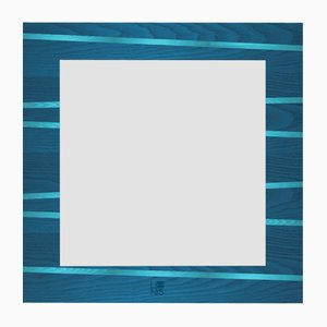Dolcevita One Dark & Light Blue Inlaid Ash Wall Mirror with Black Edge from Lignis
