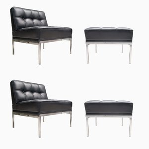 Leather Constanze Armchairs with Ottoman by Johannes Spalt for Wittmann, 1960s, Set of 2