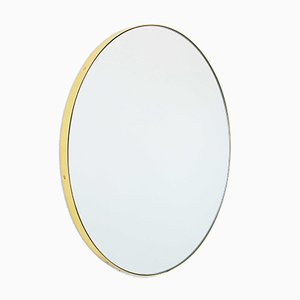 Small Brass Framed Silver Orbis Round Mirror by Alguacil & Perkoff
