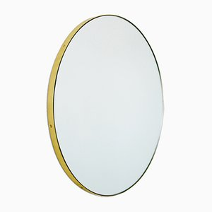 Medium Brass Framed Silver Orbis Round Mirror by Alguacil & Perkoff