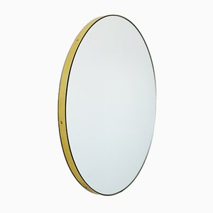 Large Brass Framed Silver Orbis Round Mirror by Alguacil & Perkoff