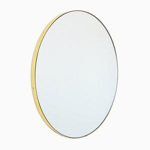 Extra Großer runder versilberter Orbis Spiegel im Messingrahmen von Alguacil & Perkoff