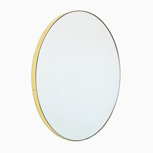 Extra Large Brass Framed Silver Orbis Round Mirror by Alguacil & Perkoff