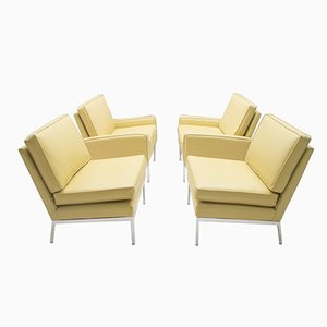 Fauteuils en Cuir par Florence Knoll pour Knoll International, 1960, Set de 4