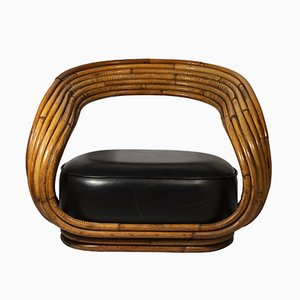 Bamboo and Skaï Eva Armchair by Giovanni Travasa, 1960s