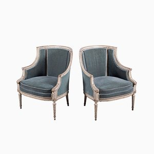 19th-Century French Wooden Chairs with Blue Velvet Upholstery and Carved Details, 1860s, Set of 2