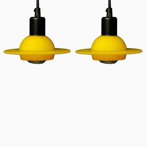 Lámparas colgantes vintage danesas amarillas de Design Light A/B. Juego de 2