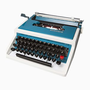 Blue Underwood 315 Portable Typewriter with Travel Bag, 1970s