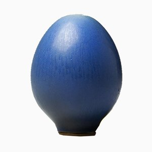 Small Vintage Blue Hare's Fur Glazed Egg Vase by Berndt Friberg for Gustavsberg, 1960s