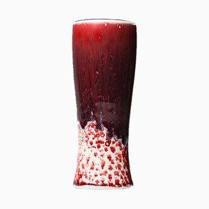 Vaso vintage bianco e rosso di Friedl Holzer-Kjellberg per Arabia