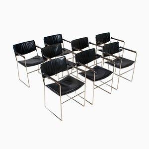 Italienische Vintage Esszimmerstühle aus schwarzem Leder & Stahl, 1970er, 8er Set