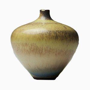 Mid-Century Vase mit Glasur in Hasenfellfarbe von Berndt Friberg für Gustavsberg