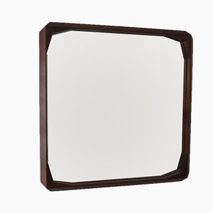 Vintage Wooden Square Wall Mirror, 1950s