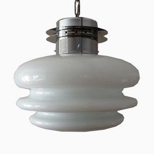 Lampada a sospensione vintage bianca, anni '60
